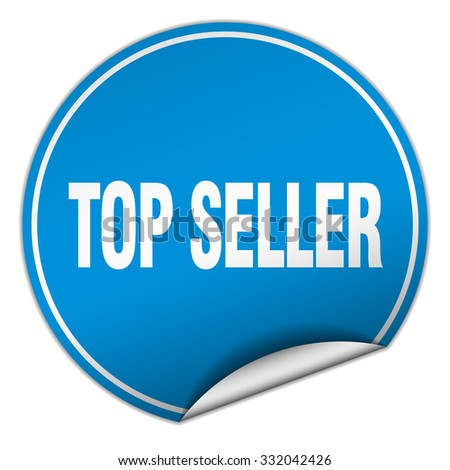 top seller round blue sticker isolated on white