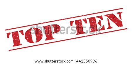 top ten vector stamp on white background - stock vector