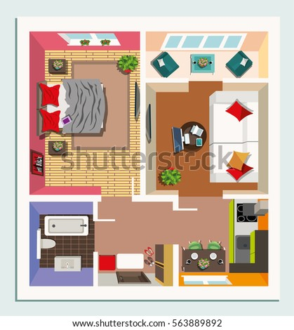 Modern Detailed Floor Plan Apartment Furniture Stock Vector