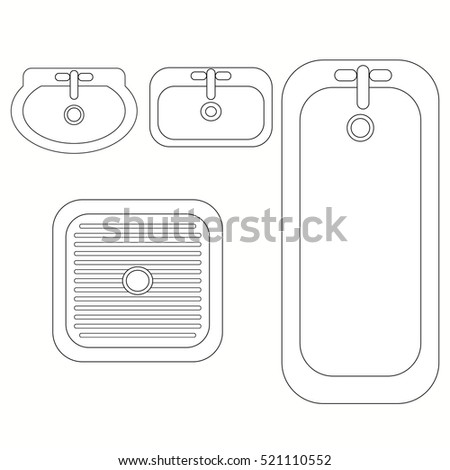 Top view bathroom furniture symbols used stock vector for Bathroom designs top view