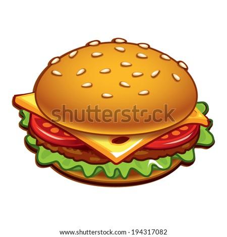 top view burger - stock vector