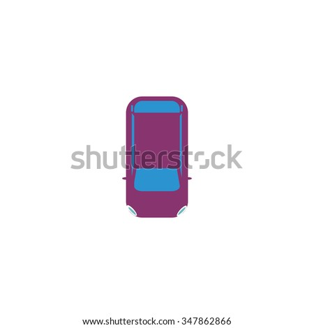 top view car Color vector icon on white background  - stock vector