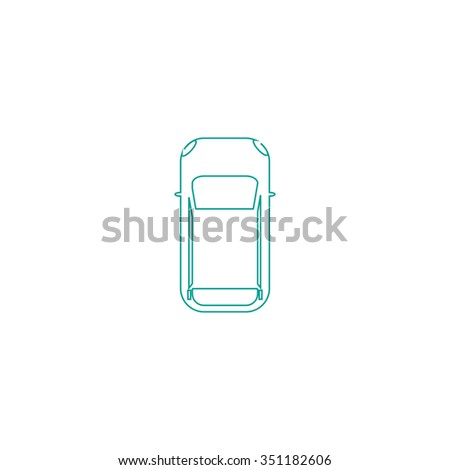 top view car Outline vector icon on white. Line symbol pictogram  - stock vector