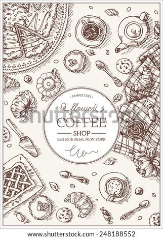 Top View Coffee Shop table. Vector illustration