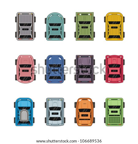 Top view different automobiles - stock vector