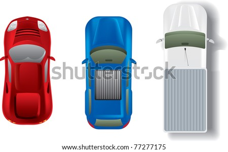 Top view different automobiles set - stock vector