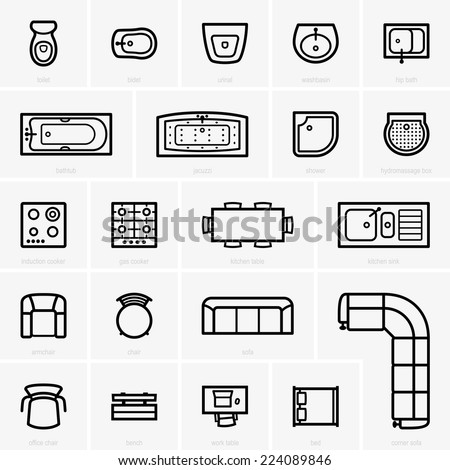 Top view furniture icons - stock vector