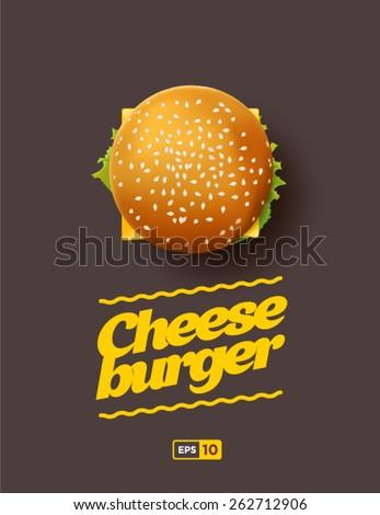 Top view illustration of cheeseburger - stock vector
