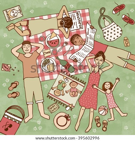 Top view illustration of people with their children having picnic in the park - stock vector