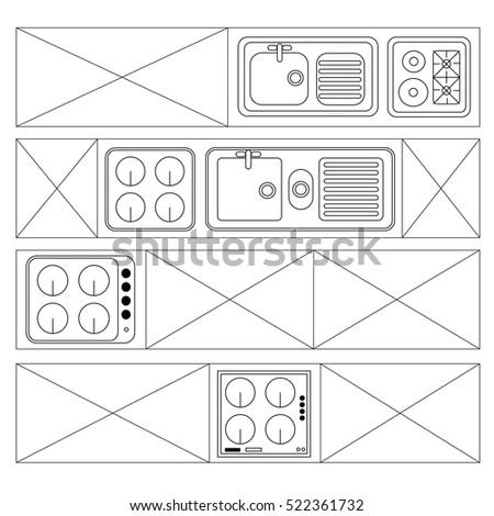 Top View Bathroom Furniture Symbols Used Stock Vector