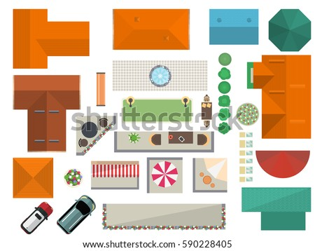 Top  View  Landscape Isolated Vector  Illustration