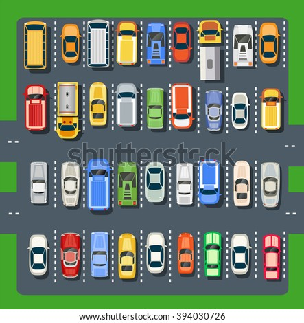 Top view of a city parking lot with a set of different cars. Public car-park. Conceptual illustration of a automobile collection in the flat plain style. - stock vector