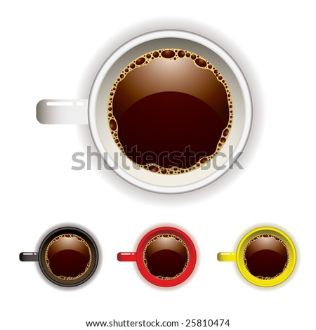 Top view of a coffee cup with four color variations - stock vector