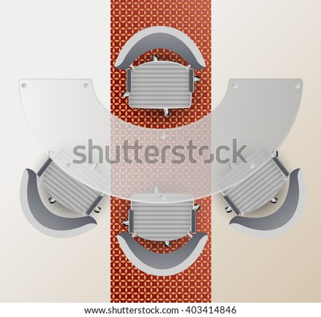Top view of a conference room. Half round glass table, four chairs carpet with Arabic pattern. Business meeting concept. - stock vector