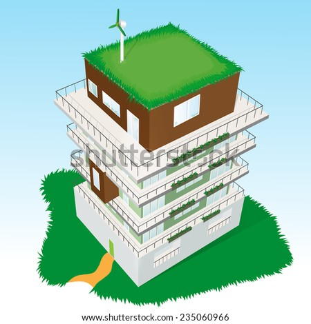 Top view of a Green Residential  building. Vector illustration. - stock vector