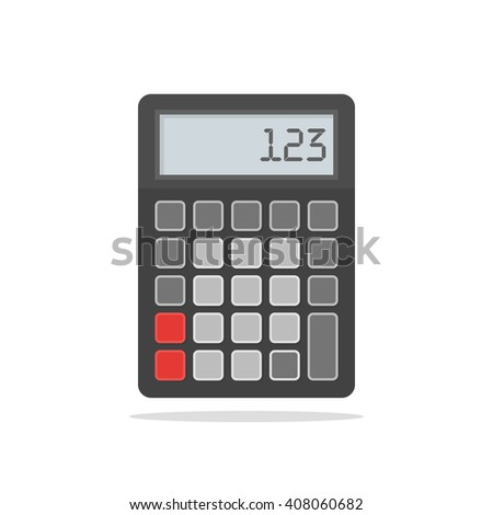 Top View of Black Calculator. Vector Illustration on white  - stock vector