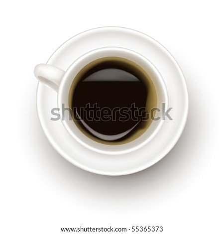 Top view of black coffee cup isolated on white background. Photo-realistic vector. - stock vector