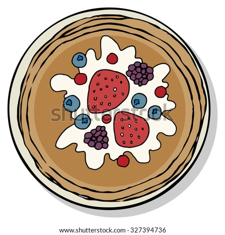 Top view of breakfast food plate,pancakes with cream and berries, isolated on white, vector illustration