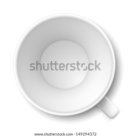 Top view of empty coffee mug. Illustration on white - stock vector