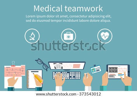 Top view of group of doctors working at a desk. Modern diagnostic equipment and methods. Discussion and research. Flat Design, Vector. Medical Workplace. Medical diagnostics concept. Tablet, pc. - stock vector