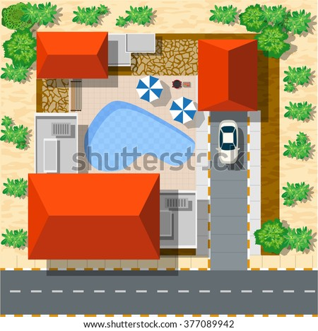 Top view of houses and streets with trees. Vector village and park landscape from map flat graphic