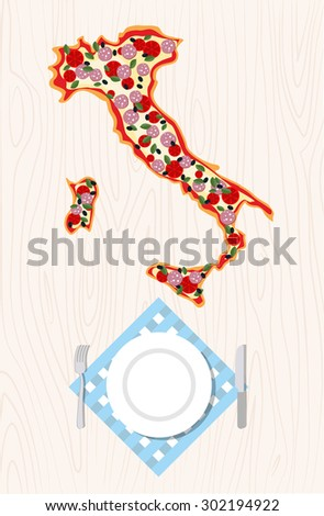 Top view of Italian pizza in shape of a map of Italy on a wooden table. Cutlery and napkin. - stock vector
