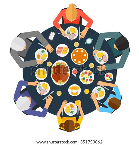 Top view of  people having dinner together at the table, vector illustration - stock vector
