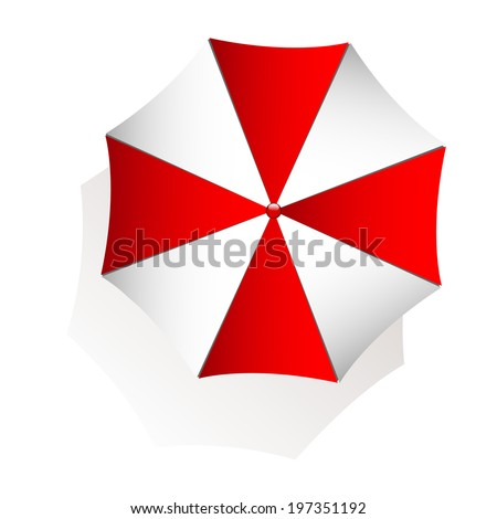 Top view of red and white beach umbrella on white background - stock vector