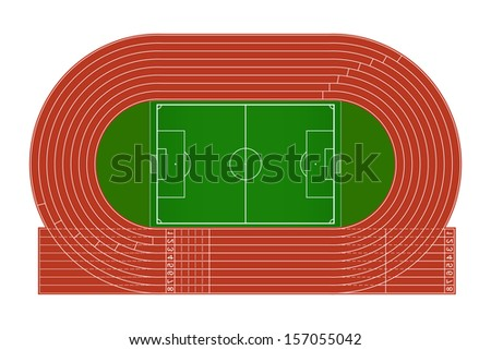 Top view of running track and soccer field on white background - Vector illustration - stock vector
