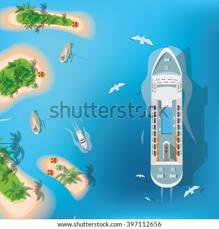 Top view of sea, ship and beach with sand, umbrellas. Flat vector illustration.