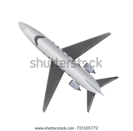 Top View  of Small Private VIP Jet Airplane on white background
