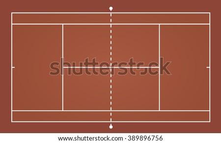 Top view of tennis court, sport background - Vector illustration - stock vector