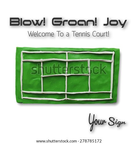 Top view of tennis court. Vector illustration. Plasticine modeling. - stock vector