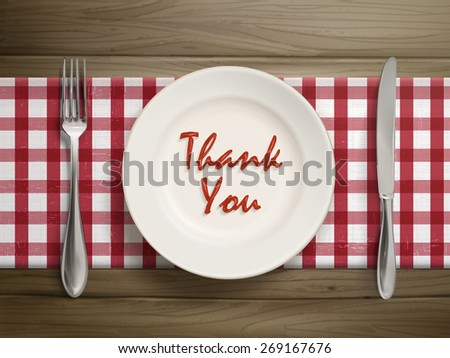 top view of thank you written by ketchup on a plate over wooden table - stock vector