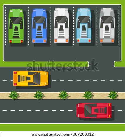 Top view of the city from the streets, roads and cars - stock vector