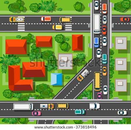 Top view of the city from the streets, roads, houses, and cars - stock vector