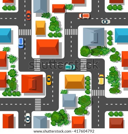 Top view of the plan city.  Seamless repeating pattern. Urban streets and houses, roofs and trees. - stock vector
