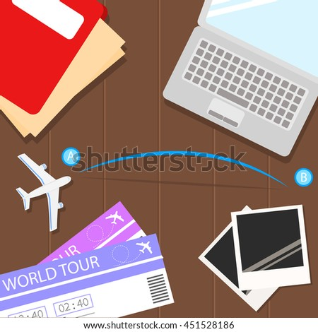 Top view of travel items on wooden table with road trip vector icon - stock vector
