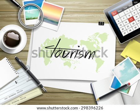 top view of travel items on wooden table with tourism word written on paper - stock vector