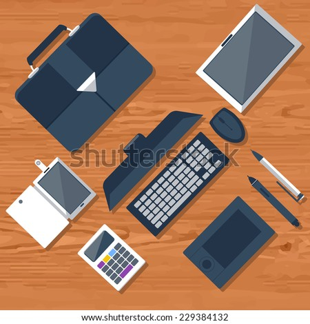 Top view of workplace with laptop, tablet, calculator, smartphone, stationery and documents - stock vector