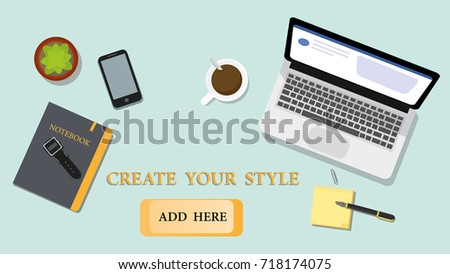 items for office desk. Top View Office Desk Design And Something Items For Working. Flat Illustration.