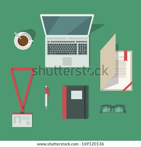 Top view on classic office workplace desk isolated vector illustration - stock vector