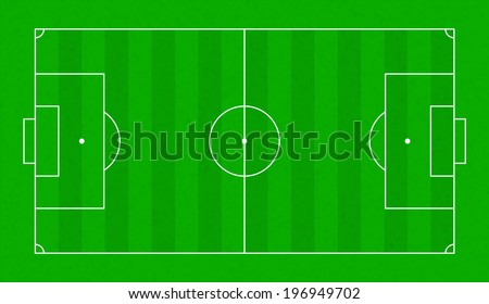 Top view on realistic textured green grass soccer or football field. Sports vector background for banner decoration
