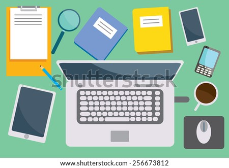 Top view vector illustration of work desk that full with gadgets and papers - stock vector