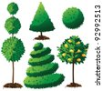 Topiary Landscape plants collection EPS 8 vector, grouped for easy editing. No open shapes or paths. - stock vector