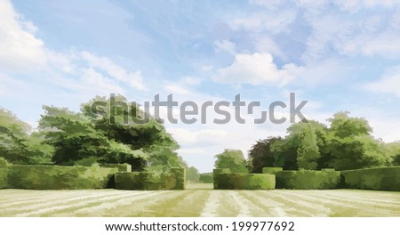 Topiary, Peover Hall, Knutsford, Cheshire, England, UK - stock vector