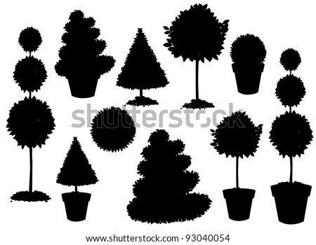 Topiary Silhouette Collection EPS 8 vector, grouped for easy editing No open shapes or paths. - stock vector
