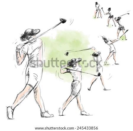Topic: GOLF (Complex motion, Golf swing). An hand drawn illustration converted into vector. Vector is easy editable in layers and groups. - stock vector