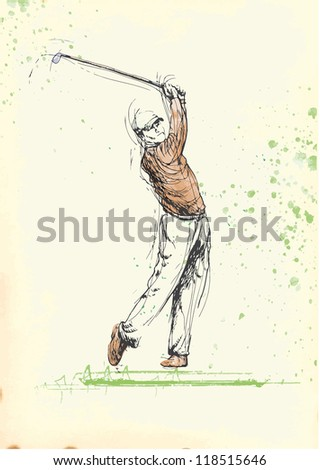 Topic: Golf (golfer - man). Vintage processing, modern player. Description: Editable in six layers. Number of colors in each layer: no more than sixteen. - stock vector