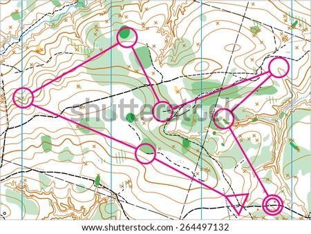 Topographic vector map - stock vector
